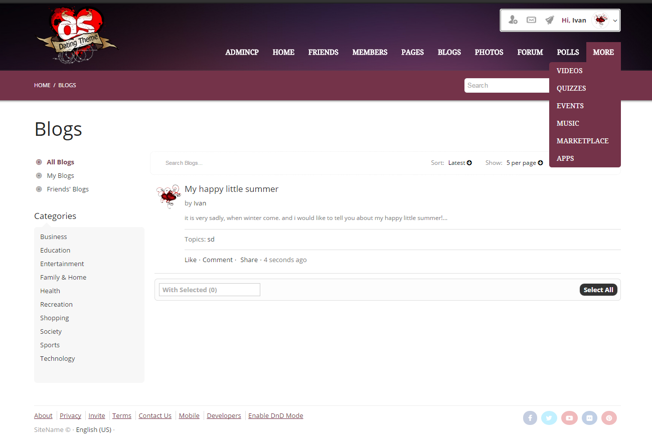 Phpfox dating template