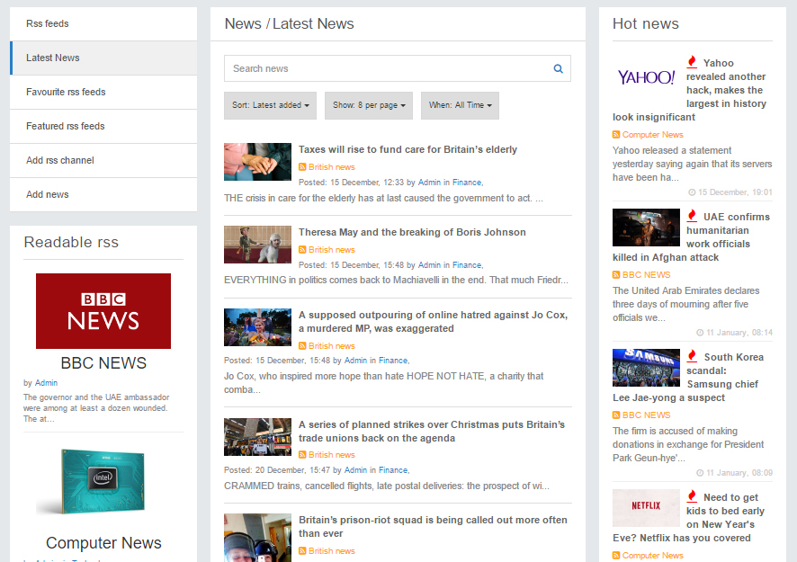 Rss feed Advanced News V4 4 65 - plugin for PhpFox